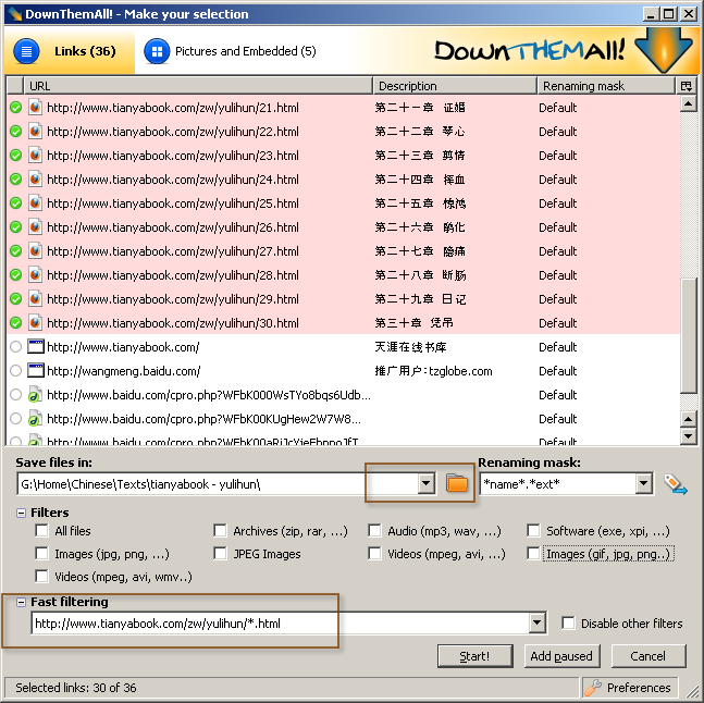 Downthemall Batch File